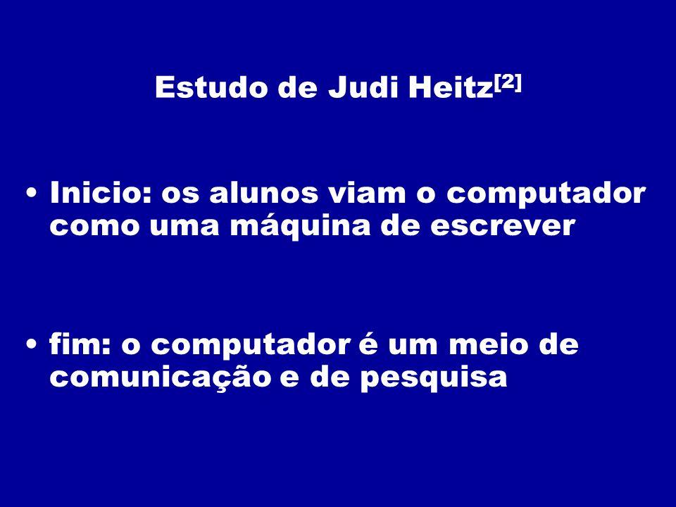 Estudo de Judi Heitz[2] Inicio: os alunos viam o computador como uma máquina de escrever.